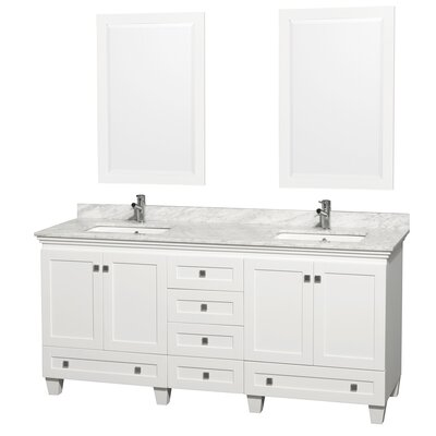 Acclaim 72 Double White Bathroom Vanity Set with Mirror Top Finish: White Carrera Marble