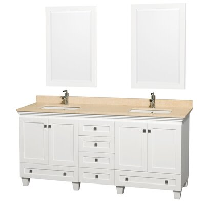Acclaim 72 Double White Bathroom Vanity Set with Mirror Top Finish: Ivory Marble