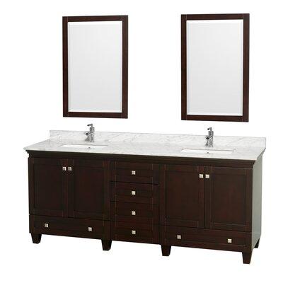 Acclaim 80 Double Espresso Bathroom Vanity Set with Mirror Top Finish: White Carrera Marble