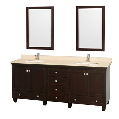 Acclaim 80 Double Espresso Bathroom Vanity Set with Mirror Top Finish: Ivory Marble
