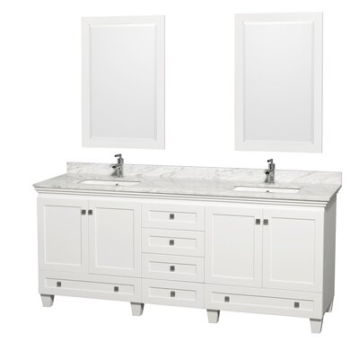 Acclaim 80 Double White Bathroom Vanity Set with Mirror Top Finish: White Carrera Marble