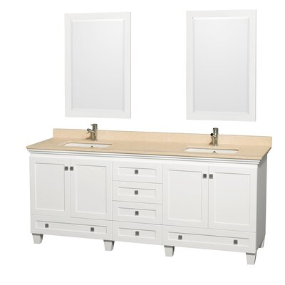 Acclaim 80 Double White Bathroom Vanity Set with Mirror Top Finish: Ivory Marble