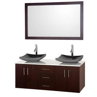 Arrano 55 Double Espresso Bathroom Vanity Set with Mirror Sink Finish: Black Granite