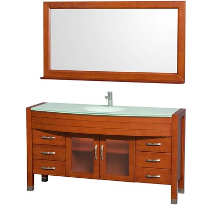 Daytona 60 Single Cherry Bathroom Vanity Set with Mirror Top Finish: Green Glass