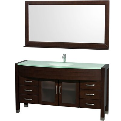 Daytona 60 Single Espresso Bathroom Vanity Set with Mirror Top Finish: Green Glass