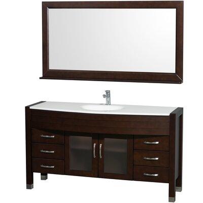Daytona 60 Single Espresso Bathroom Vanity Set with Mirror Top Finish: White Man-Made Stone