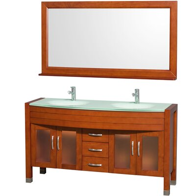 Daytona 60 Double Cherry Bathroom Vanity Set with Mirror Top Finish: Green Glass