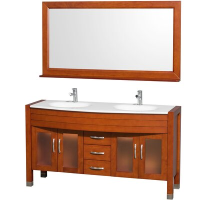 Daytona 60 Double Cherry Bathroom Vanity Set with Mirror Top Finish: White Man-Made Stone