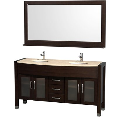 Daytona 60 Double Espresso Bathroom Vanity Set with Mirror Top Finish: Ivory Marble