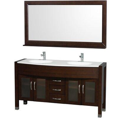 Daytona 60 Double Espresso Bathroom Vanity Set with Mirror Top Finish: White Man-Made Stone