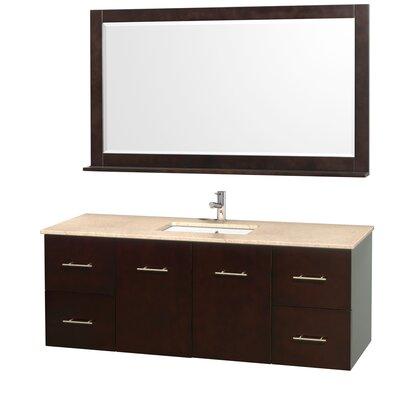 Centra 60 Single Espresso Bathroom Vanity Set with Mirror Top Finish: Ivory Marble