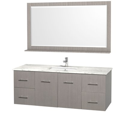Centra 60 Single Gray Oak Bathroom Vanity Set with Mirror Top Finish: White Carrera Marble