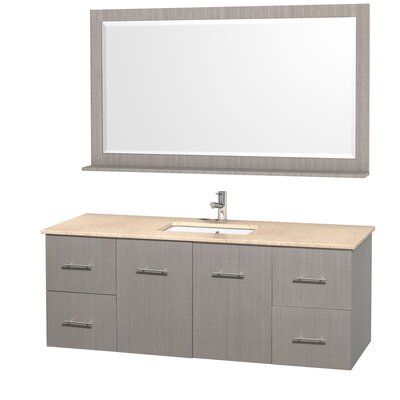 Centra 60 Single Gray Oak Bathroom Vanity Set with Mirror Top Finish: Ivory Marble