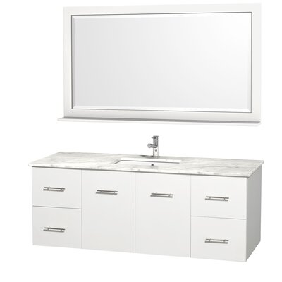 Centra 60 Single White Bathroom Vanity Set with Mirror Top Finish: White Carrera Marble