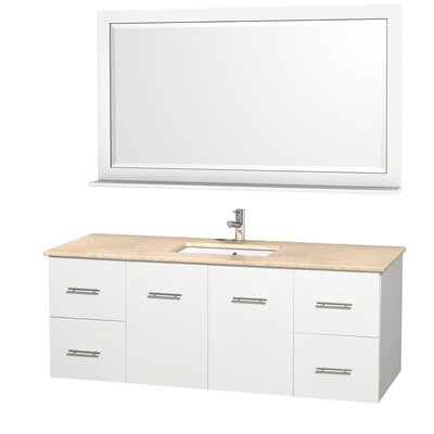 Centra 60 Single White Bathroom Vanity Set with Mirror Top Finish: Ivory Marble