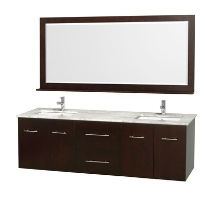 Centra 72 Double Espresso Bathroom Vanity Set with Mirror Top Finish: White Carrera Marble