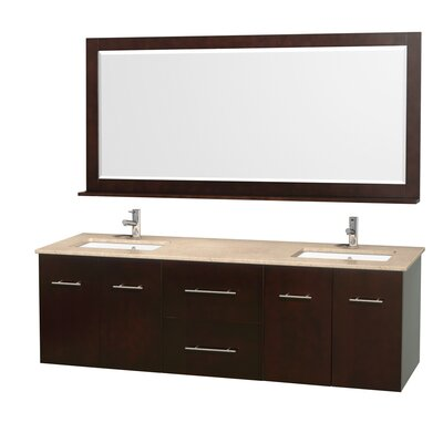 Centra 72 Double Espresso Bathroom Vanity Set with Mirror Top Finish: Ivory Marble