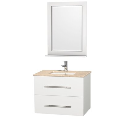 Centra 30 Single White Bathroom Vanity Set with Mirror Top Finish: Ivory Marble