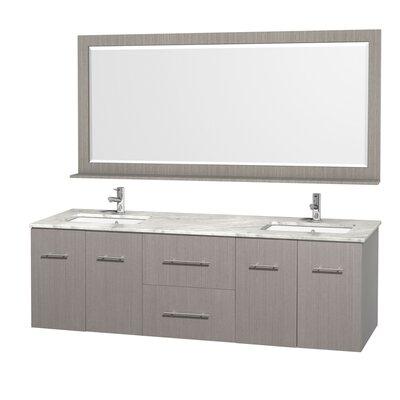 Centra 72 Double Gray Oak Bathroom Vanity Set with Mirror Top Finish: White Carrera Marble