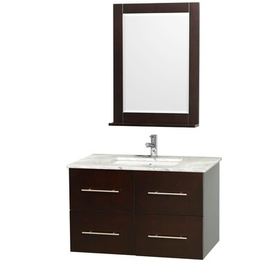 Centra 36 Single Espresso Bathroom Vanity Set with Mirror Top Finish: White Carrera Marble