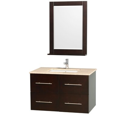 Centra 36 Single Espresso Bathroom Vanity Set with Mirror Top Finish: Ivory Marble