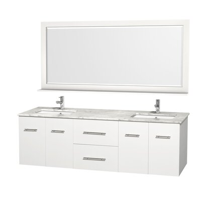 Centra 72 Double White Bathroom Vanity Set with Mirror Top Finish: White Carrera Marble