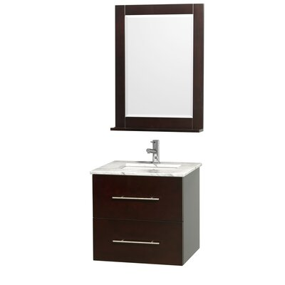Centra 24 Single Espresso Bathroom Vanity Set with Mirror Top Finish: White Carrera Marble