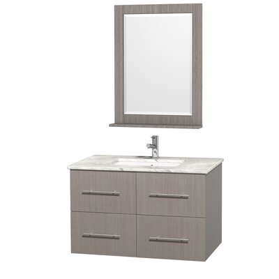 Centra 36 Single Gray Oak Bathroom Vanity Set with Mirror Top Finish: White Carrera Marble