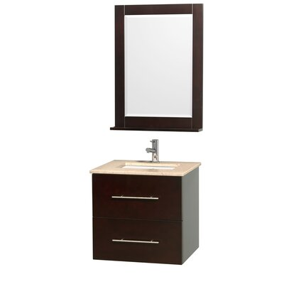 Centra 24 Single Espresso Bathroom Vanity Set with Mirror Top Finish: Ivory Marble