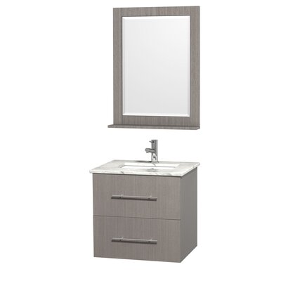 Centra 24 Single Gray Oak Bathroom Vanity Set with Mirror Top Finish: White Carrera Marble