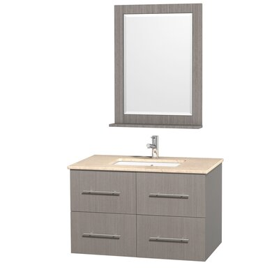 Centra 36 Single Gray Oak Bathroom Vanity Set with Mirror Top Finish: Ivory Marble