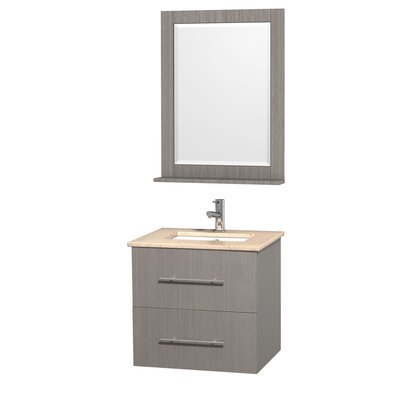 Centra 24 Single Gray Oak Bathroom Vanity Set with Mirror Top Finish: Ivory Marble