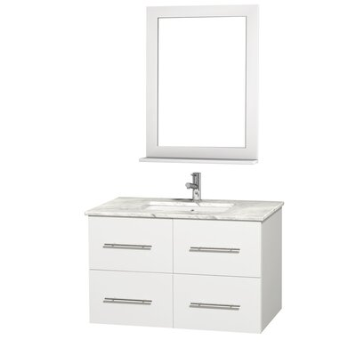 Centra 36 Single White Bathroom Vanity Set with Mirror Top Finish: White Carrera Marble