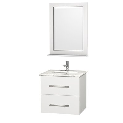 Centra 24 Single White Bathroom Vanity Set with Mirror Top Finish: White Carrera Marble