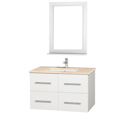 Centra 36 Single White Bathroom Vanity Set with Mirror Top Finish: Ivory Marble