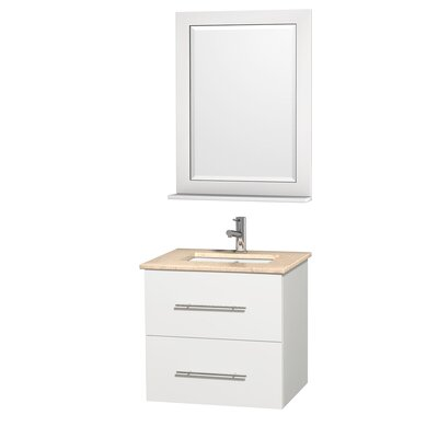 Centra 24 Single White Bathroom Vanity Set with Mirror Top Finish: Ivory Marble