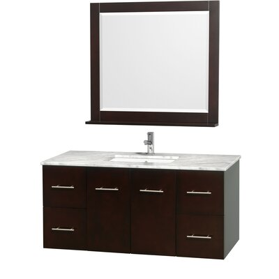 Centra 48 Single Espresso Bathroom Vanity Set with Mirror Top Finish: White Carrera Marble