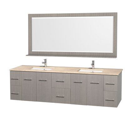 Centra 80 Double Gray Oak Bathroom Vanity Set with Mirror Top Finish: Ivory Marble