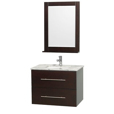 Centra 30 Single Espresso Bathroom Vanity Set with Mirror Top Finish: White Carrera Marble