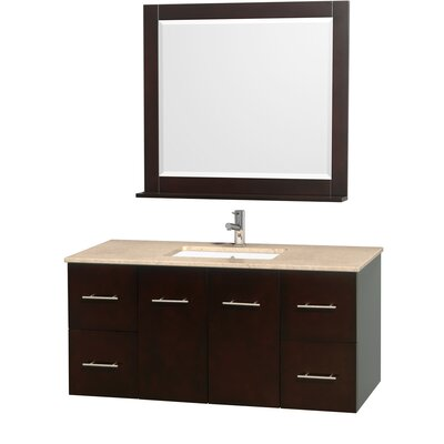 Centra 48 Single Espresso Bathroom Vanity Set with Mirror Top Finish: Ivory Marble