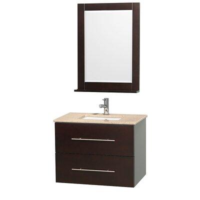 Centra 30 Single Espresso Bathroom Vanity Set with Mirror Top Finish: Ivory Marble