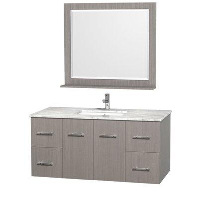 Centra 48 Single Gray Oak Bathroom Vanity Set with Mirror Top Finish: White Carrera Marble