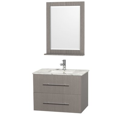 Centra 30 Single Gray Oak Bathroom Vanity Set with Mirror Top Finish: White Carrera Marble