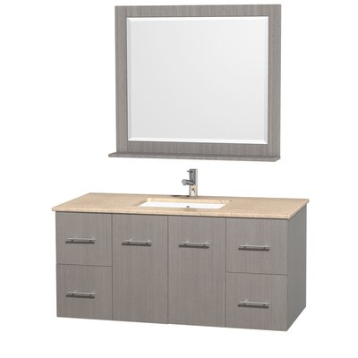 Centra 48 Single Gray Oak Bathroom Vanity Set with Mirror Top Finish: Ivory Marble