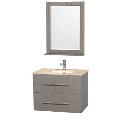 Centra 30 Single Gray Oak Bathroom Vanity Set with Mirror Top Finish: Ivory Marble