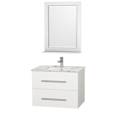 Centra 30 Single White Bathroom Vanity Set with Mirror Top Finish: White Carrera Marble