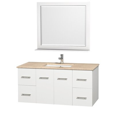 Centra 48 Single White Bathroom Vanity Set with Mirror Top Finish: Ivory Marble