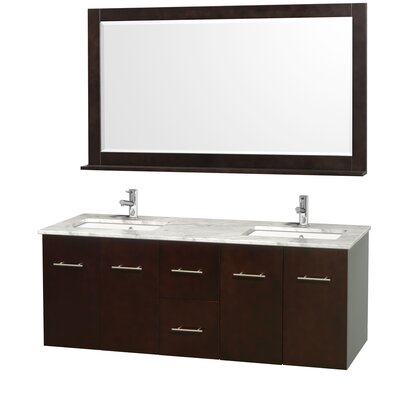 Centra 60 Double Espresso Bathroom Vanity Set with Mirror Top Finish: White Carrera Marble
