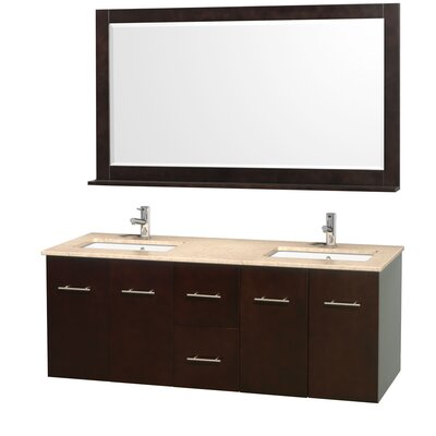 Centra 60 Double Espresso Bathroom Vanity Set with Mirror Top Finish: Ivory Marble