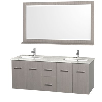 Centra 60 Double Gray Oak Bathroom Vanity Set with Mirror Top Finish: White Carrera Marble